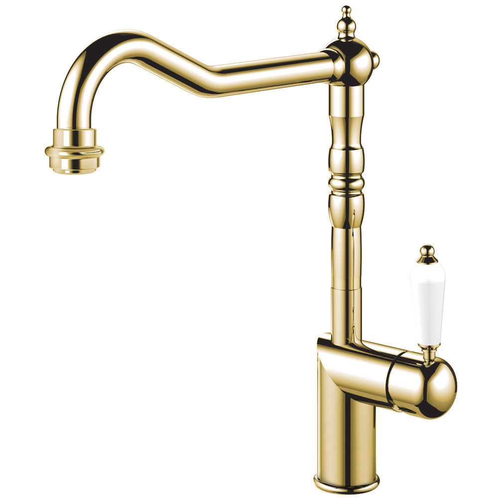 Messing/Gold Küche Wasserhahn - Nivito CL-160 White Porcelain Handle Color