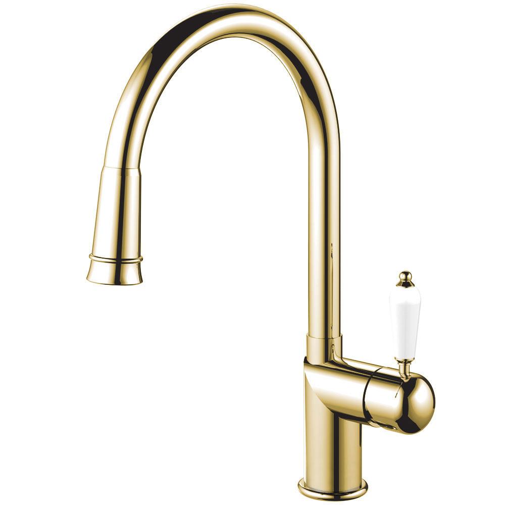 Messing/Gold Küche Wasserhahn Ausziehbarer Schlauch - Nivito CL-260 White Porcelain Handle Color