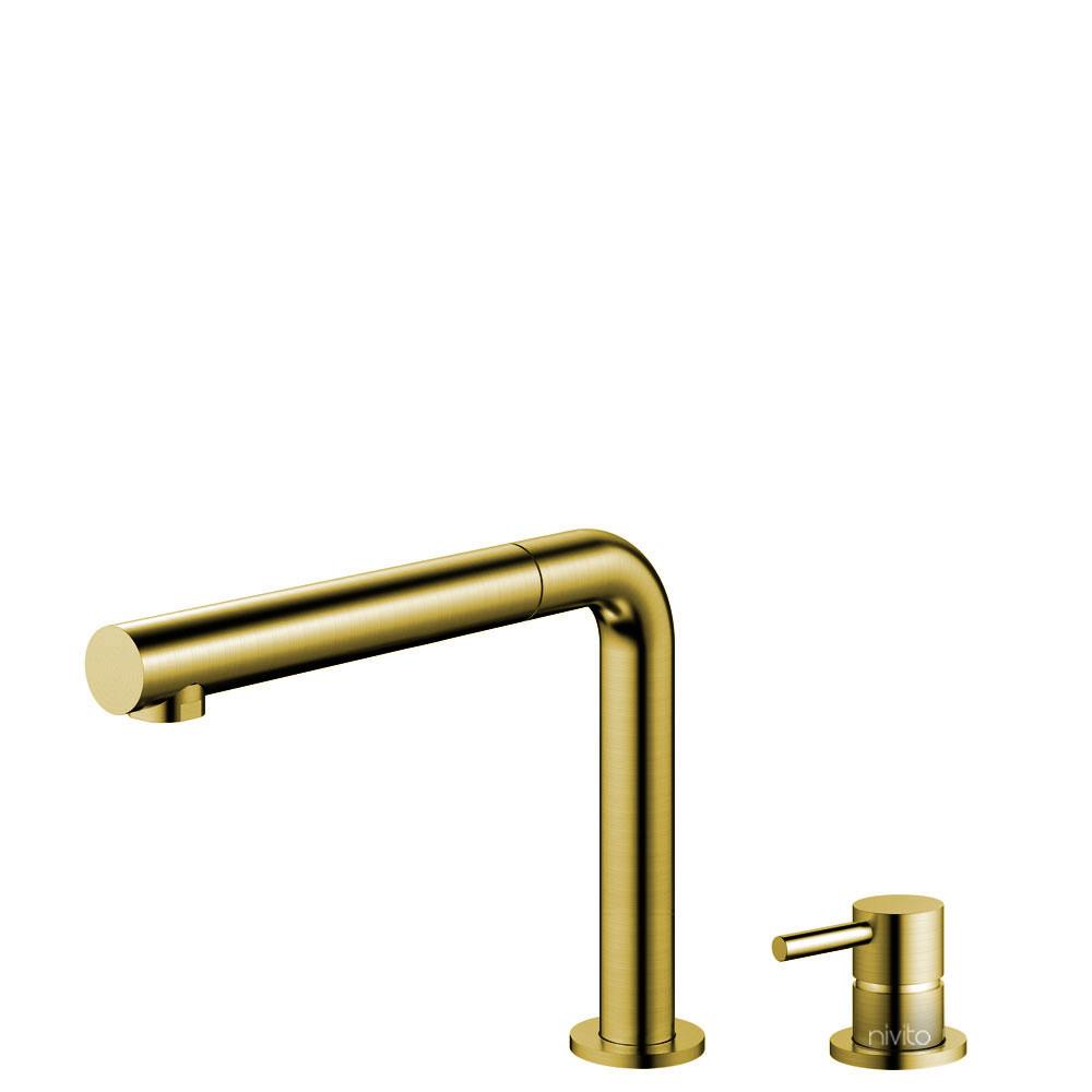 Messing/Gold Küche Wasserhahn Ausziehbarer Schlauch / Getrenntes Körper/Rohr - Nivito RH-640-VI