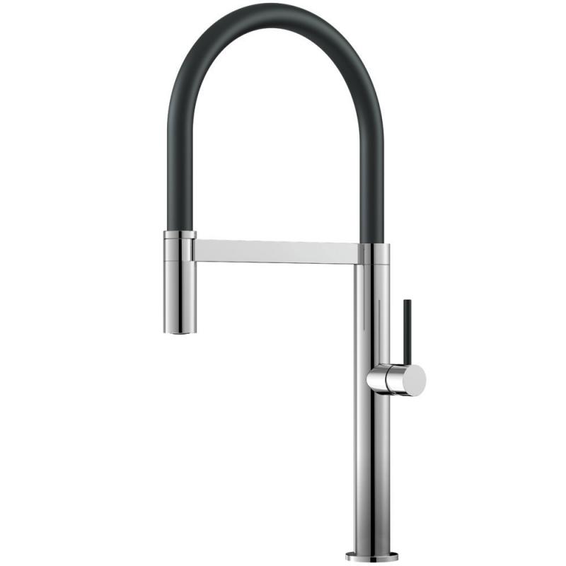 Küchenarmatur Ausziehbarer Schlauch / poliert/schwarz - Nivito SH-210