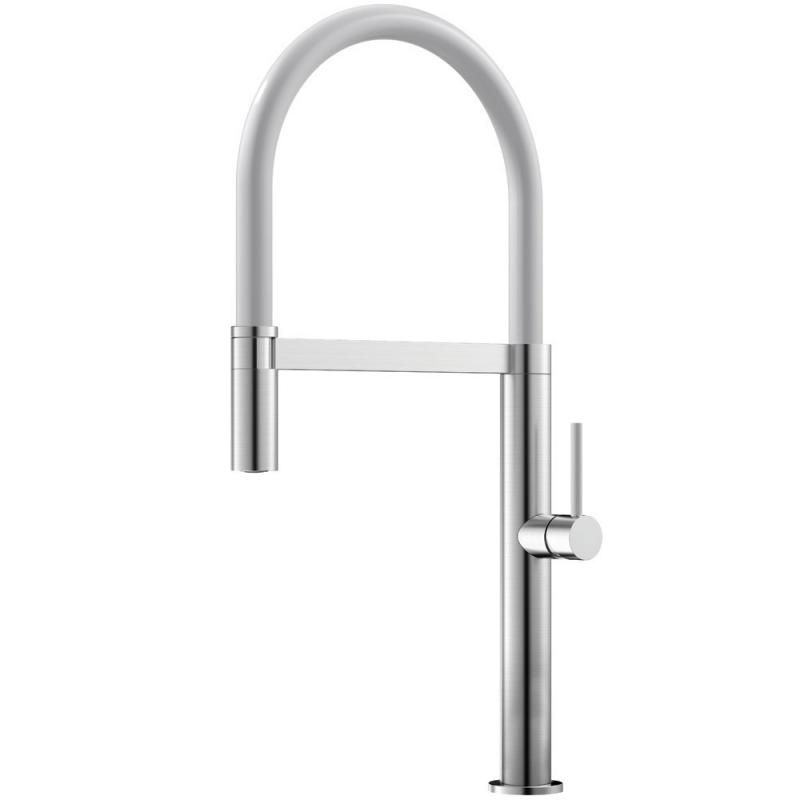 Edelstahl Küchenarmatur Ausziehbarer Schlauch / Gebürstet/Weiß - Nivito SH-300