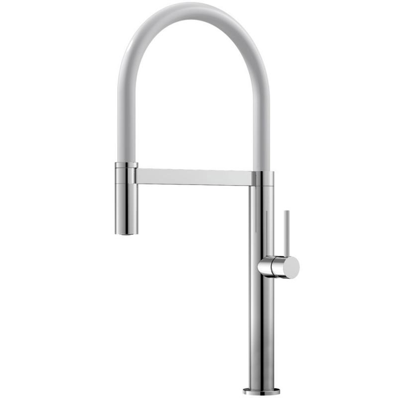 Küchenarmatur Ausziehbarer Schlauch / poliert/Weiß - Nivito SH-310