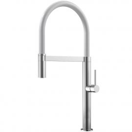 Edelstahl Küche Wasserhahn Ausziehbarer Schlauch / Gebürstet/Weiß - Nivito SH-300